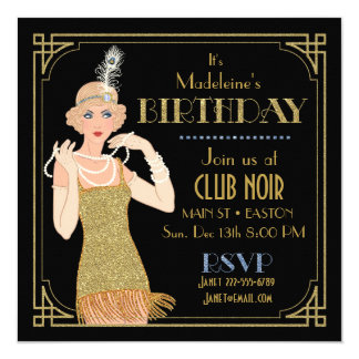 Roaring 20's Flapper Gold Glitter Black Retro Card