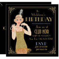 Roaring 20's Flapper Gold Glitter Black Retro Invitation