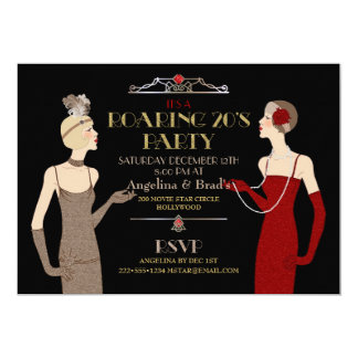 Roaring 20's Flapper Gold Glitter Red Black Retro Card