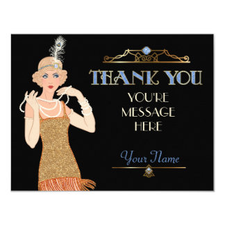 Roaring 20s Fringe Dress Feather Flapper Thank You Card