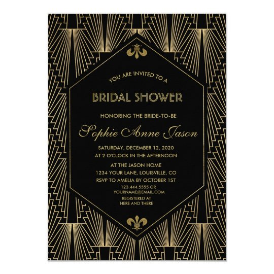 Roaring 20s great gatsby art deco bridal shower invitation zazzle roaring 20s great gatsby art deco bridal shower invitation filmwisefo