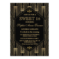 Roaring 20s Great Gatsby Art Deco Sweet 16 Party Card