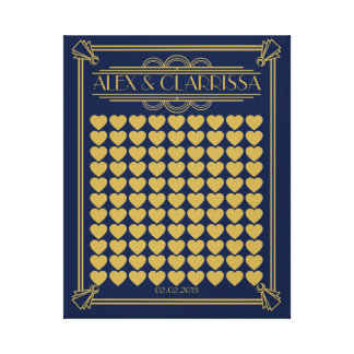 Roaring 20's great gatsby wedding guest book gold canvas print