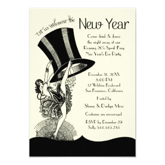 """Roaring 20's New Year's Eve Party 5"""" X 7"""" Invitation Card"""