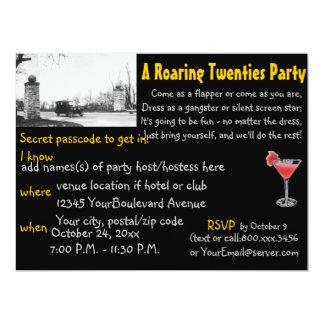 """Roaring 20's  Prohibition Era Theme Party Black 6.5"""" X 8.75"""" Invitation Card"""