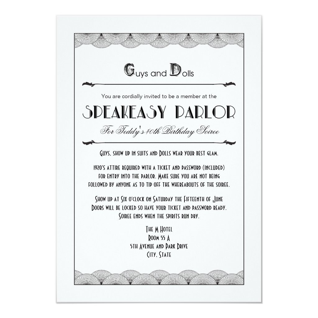 Roaring 20's Speakeasy Theme Party Invitations