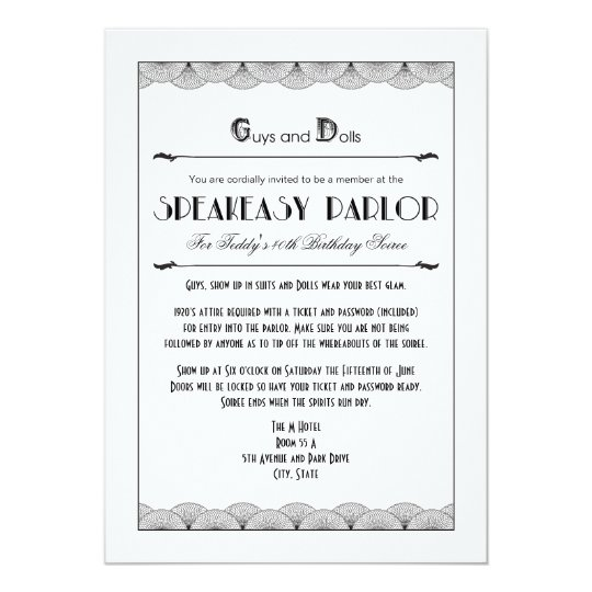 Roaring 20s Speakeasy Theme Party Invitations Zazzlecom