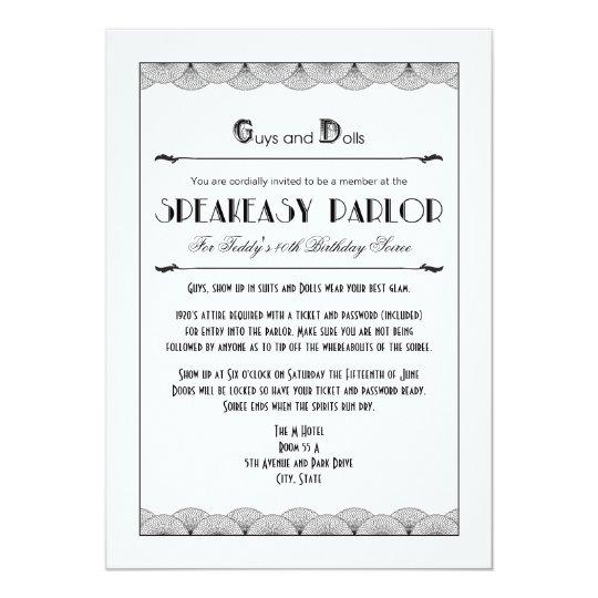 roaring 20 s speakeasy theme party invitations zazzle com