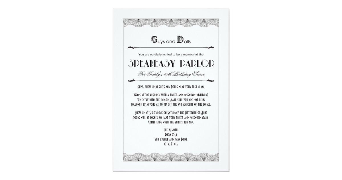 Roaring 20\'s Speakeasy Theme Party Invitations | Zazzle.com