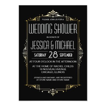 PineAndBerry Roaring 20's Theme Wedding Shower | Art Deco Style Card