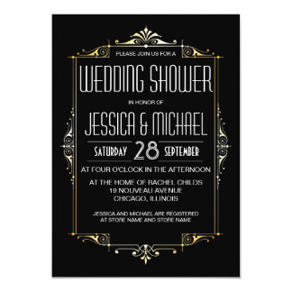 Roaring 20's Theme Wedding Shower | Art Deco Style 5x7 Paper Invitation Card