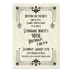Roaring 20s Twenties Art Deco 50th Birthday Party Card