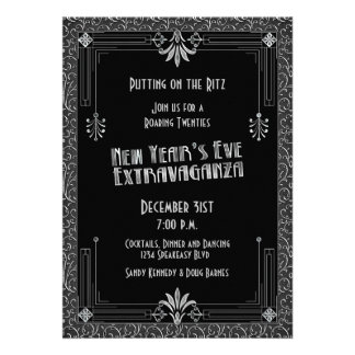 Roaring 20s Twenties Art Deco New Year s Eve Party Personalized Invite