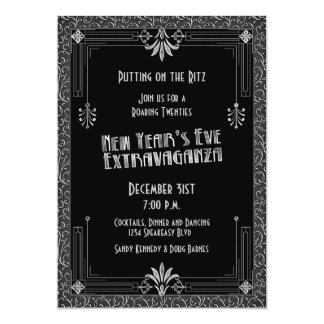 Roaring 20s Twenties Art Deco New Year's Eve Party 5x7 Paper Invitation Card