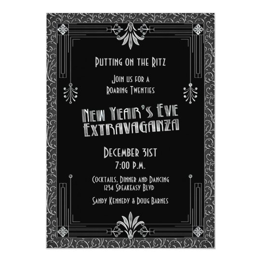 Roaring 20s Twenties Art Deco New Year S Eve Party Invitation