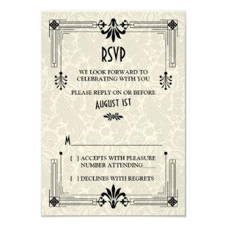 "Roaring 20s Twenties Art Deco Wedding RSVP Card 3.5"" X 5"" Invitation Card"