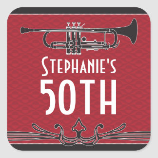 Roaring 20s Twenties Speakeasy 50th Birthday Party Square Stickers