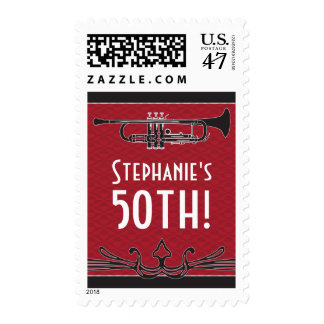 Roaring 20s Twenties Trumpet Jazz 50th Birthday Postage