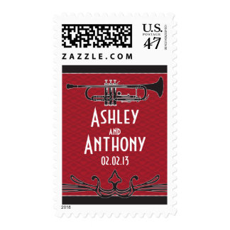 Roaring 20s Twenties Trumpet Jazz Wedding Postage
