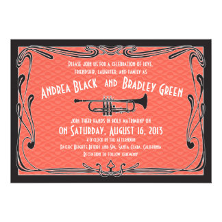 Roaring 20s Twenties Trumpet Wedding Invitation