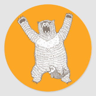Roaring Bear (Ink) Classic Round Sticker