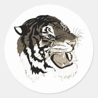 Roaring Black And White Tiger Classic Round Sticker