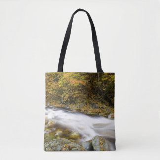 Roaring Brook in fall in Vermont's Green Tote Bag