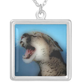 'Roaring Catamount' Silver Plated Necklace