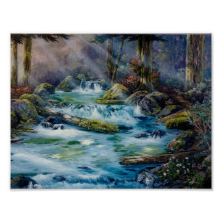 Roaring Creek Scene from the Pacific Northwest Poster