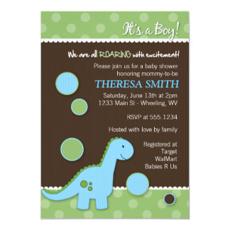 Elegant Roaring Dinosaur Baby Shower Invitations