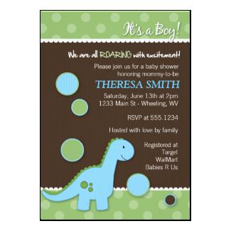 Roaring Dinosaur Baby Shower Invitations 5