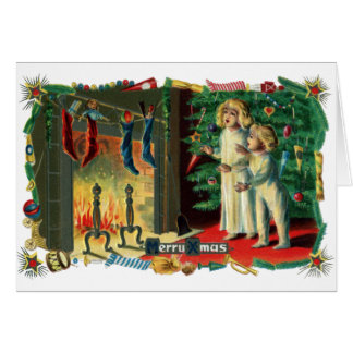 Roaring Fire on Christmas Morning Vintage Card