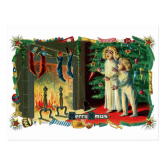 Roaring Fire on Christmas Morning Vintage Postcard