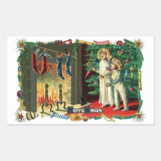 Roaring Fire on Christmas Morning Vintage Rectangular Sticker