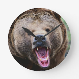 Roaring Grizzly Bear Round Wall Clock