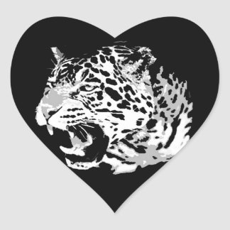 Roaring Jaguar Heart Sticker