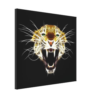 Roaring Leopard Head Cat Canvas Print