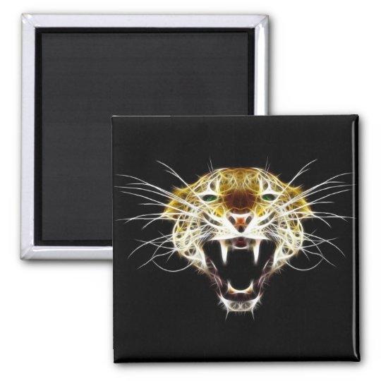 Roaring Leopard Head Cat Magnet