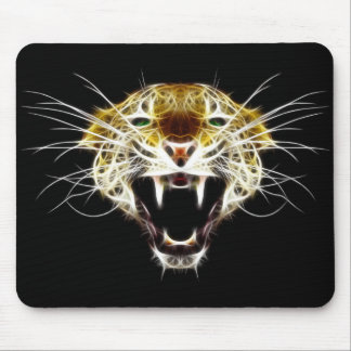 Roaring Leopard Head Cat Mouse Pad