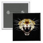 Roaring Leopard Head Cat Pin