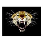 Roaring Leopard Head Cat Postcard