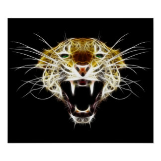 Roaring Leopard Head Cat Poster