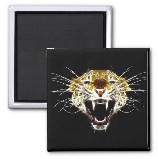 Roaring Leopard Head Cat Refrigerator Magnets