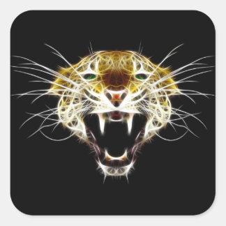 Roaring Leopard Head Cat Square Sticker