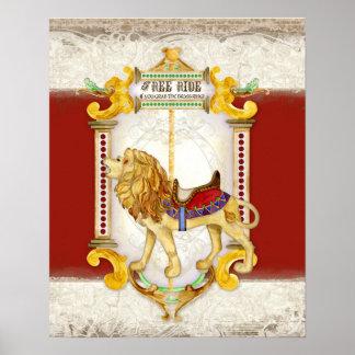 Roaring Lion Brass Ring, Circus Carousel Vintage Print