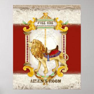 Roaring Lion Brass Ring, Circus Carousel Vintage Poster