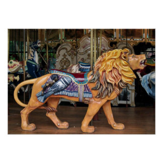 Roaring Lion Carousel Horse/Animal Poster