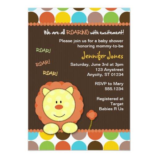 Roaring Lion Dots Baby Shower Invitation