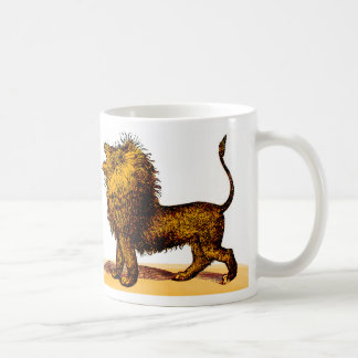 Roaring lion engraving coloured coffee mug