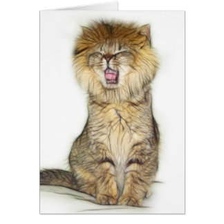 Roaring lion kitten card